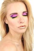 Beautiful woman with bright make-up, close up — Stock Photo