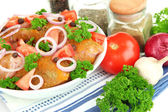 Turkey meat in bowl close up — Stock Photo
