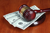 Gavel and money on table close-up — Stock Photo