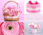 Collage di foto con fiori e regali — Foto Stock