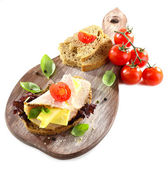 Delicious sandwiches with meet isolated on white — Stock fotografie
