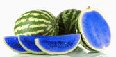 Blue watermelon isolated on white — Stock Photo