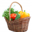 Composition with raw vegetables in wicker basket isolated on white — Stock Photo #47915293