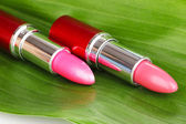 Lipsticks on green leaf close-up — Stock Photo