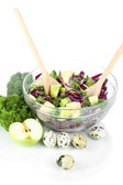 Fresh vegetable salad in bowl isolated on white — Stock Photo