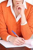 Woman writer for work flow close-up — Stok fotoğraf