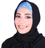 Beautiful muslim arabic woman on grey background — Stock fotografie