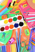 Bright school supplies close-up — Photo