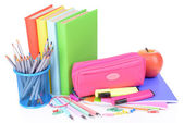 Bright school supplies isolated on white — Stock Photo