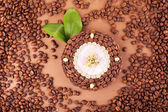 Beautiful clock of coffee beans, on brown background — Stock Photo