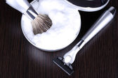 Male luxury shaving kit on wooden background — Stock Photo
