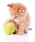 Cute little red kitten and ball of thread isolated on white — Stock Photo