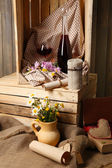 Beautiful still life with bottles of wine — 图库照片