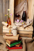Beautiful still life with bottles of wine — Stock Photo