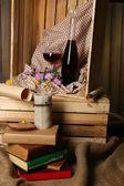 ワインのボトルと美しい静物 — ストック写真