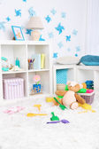 Colorful toys on fluffy carpet in children room — Photo