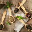 Assortment of dry tea in wooden spoons on table — 图库照片 #47958949