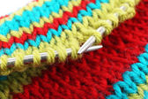 Knitting with spokes close up — Stock Photo