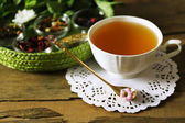 Cup of tasty green tea on table  — Stock Photo