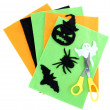 Bright felt and handmade Halloween decorations, isolated on white — Stock Photo