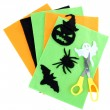 Bright felt and handmade Halloween decorations, isolated on white — Stock Photo #47962129