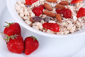 Healthy cereal in bowl with strawberries and nuts close up — 图库照片