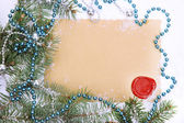 Frame with vintage paper and Christmas decorations close up — Stock Photo