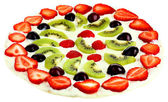 Homemade sweet pizza with fruits isolated on white — 图库照片
