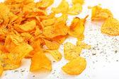 Homemade potato chips isolated on white — Stockfoto