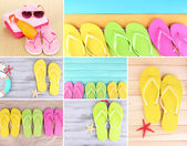 Colorful flip-flops collage — Stock Photo