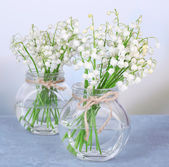 Beautiful lilies of the valley in glass vases on light background — Zdjęcie stockowe
