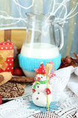 Beautiful Christmas composition with milk close-up — Foto Stock