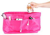 Pink cosmetic bag isolated on white — Stock Photo