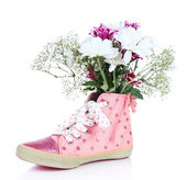 Beautiful gumshoes with flowers inside, isolated on white — Stock Photo