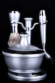 Male luxury shaving kit isolated on black — ストック写真