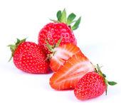 Ripe sweet strawberries isolated on white — Stockfoto