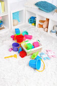 Colorful toys on fluffy carpet in children room — Foto Stock