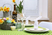 Beautiful holiday Easter table setting  — Stock fotografie