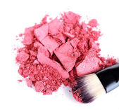 Crushed eyeshadow with brush isolated on white  — Stock Photo