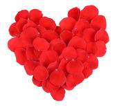 Beautiful petals of red roses in heart shape isolated on white — Stock Photo
