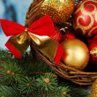 Christmas decorations in basket and spruce branches on bright background — Stock Photo #48028127