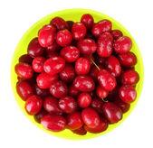 新鲜山茱萸浆果在碗上白色隔离 — 图库照片