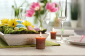 Beautiful holiday Easter table setting  — Zdjęcie stockowe