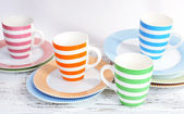 Different tableware on shelf, isolated on white — Stock Photo