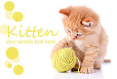 Cute little red kitten and ball of thread isolated on white — Stockfoto
