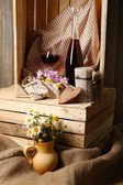 Beautiful still life with bottles of wine — Stock fotografie