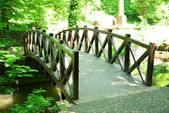 Old retro wooden bridge — Foto Stock