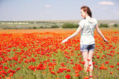 Beautiful young woman in poppy  field — Stock Photo