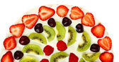 Homemade sweet pizza with fruits isolated on white — Foto de Stock