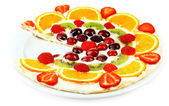 Homemade sweet pizza with fruits isolated on white — Stock Photo